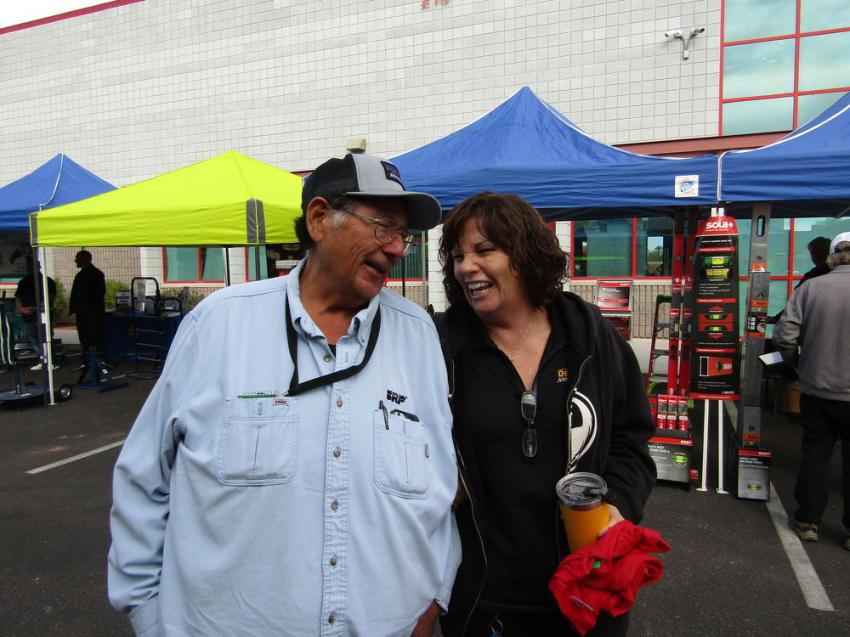 John Ronquillo of Salt River Project (SRP) and Diane Fisher Brunson enjoy a lighter moment. Customer service has kept Ronquillo coming back to Fisher's since they opened in 1964.
