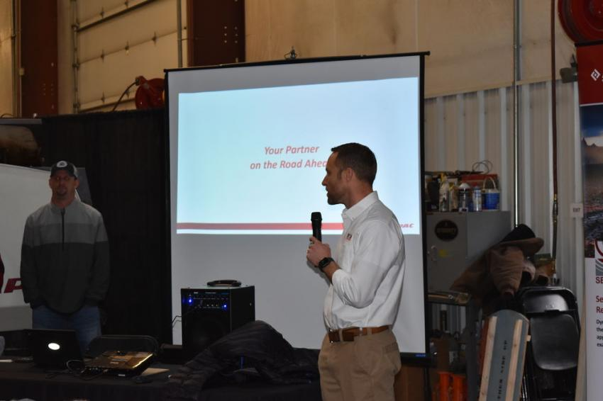Adam Houseknecht, president of Best Line Equipment, thanks everyone for attending the event during his closing remarks.