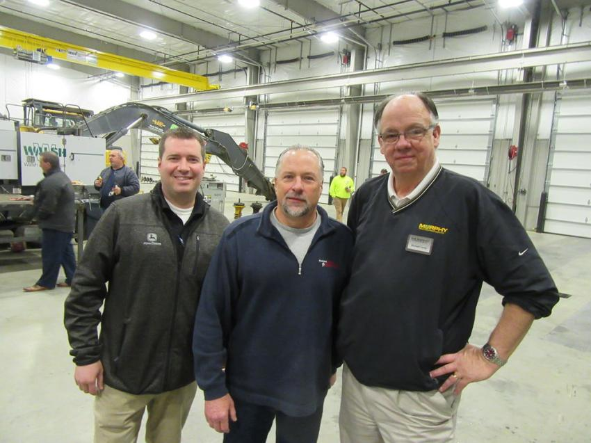Ken Skala (L) and Michael Camp (R) of Murphy Tractor & Equipment caught up with Cleveland Crane & Shovel's Andrew Forepaugh at the Brunswick Open House.