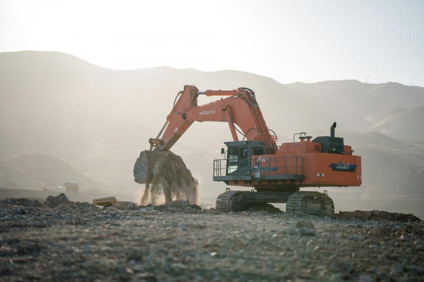 LB3 Enterprise's Hitachi 1200 excavator moves excess dirt on a housing development project in Southern California.