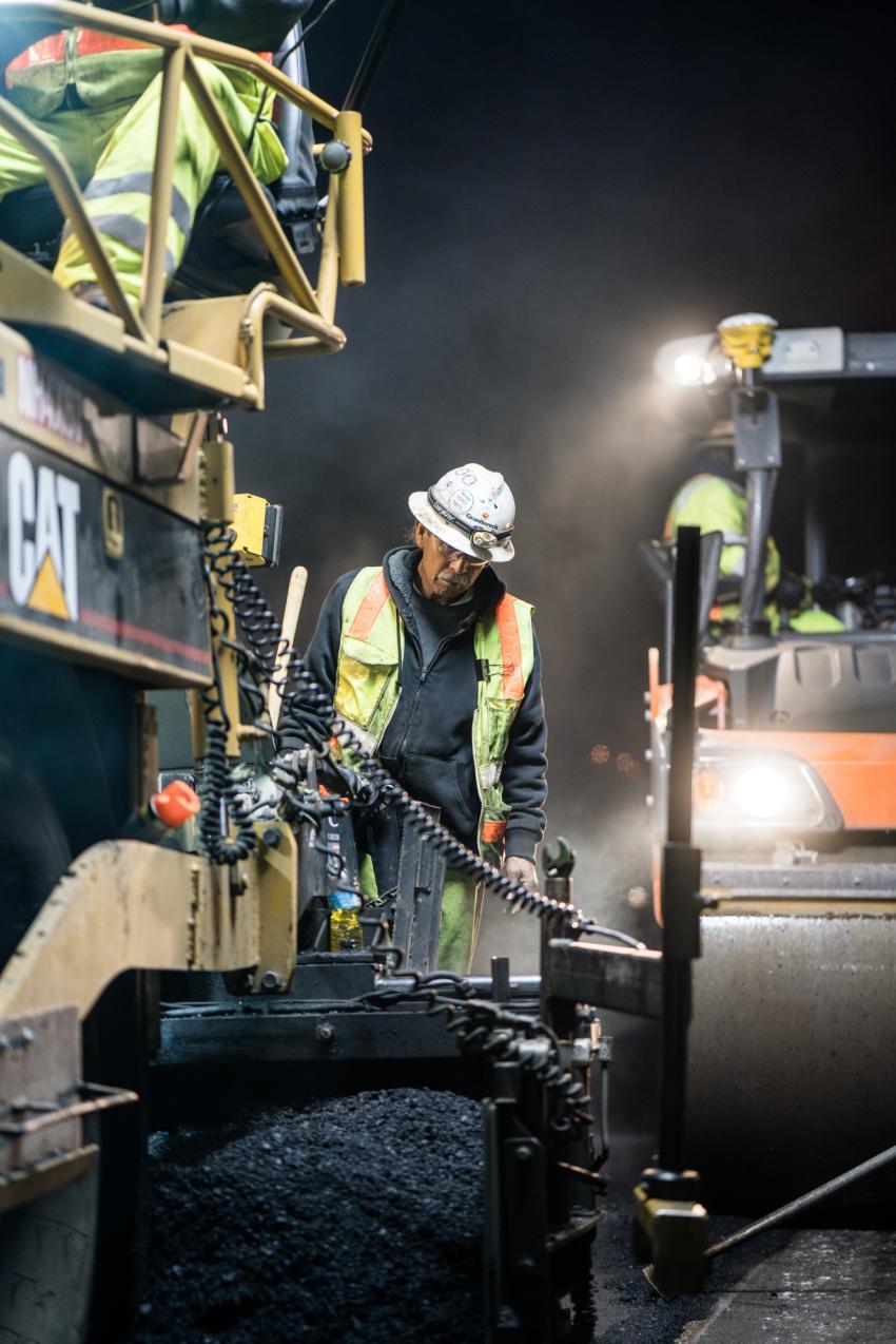 Graniterock paving crews work overnight to resurface Highway 1 near Pacifica.
