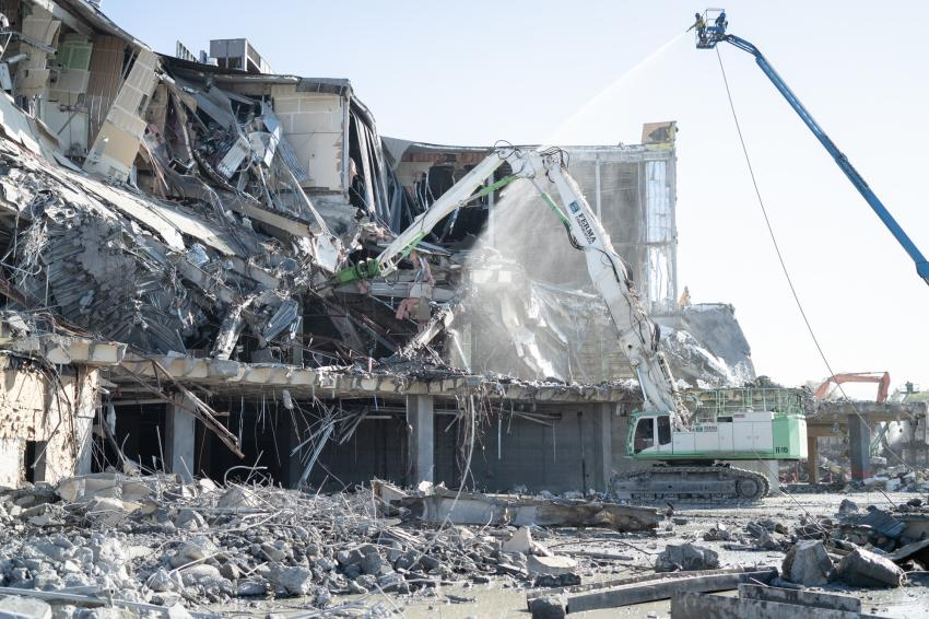 Ferma Corp. demolishes an old shopping mall in Cupertino using a fleet of its custom 