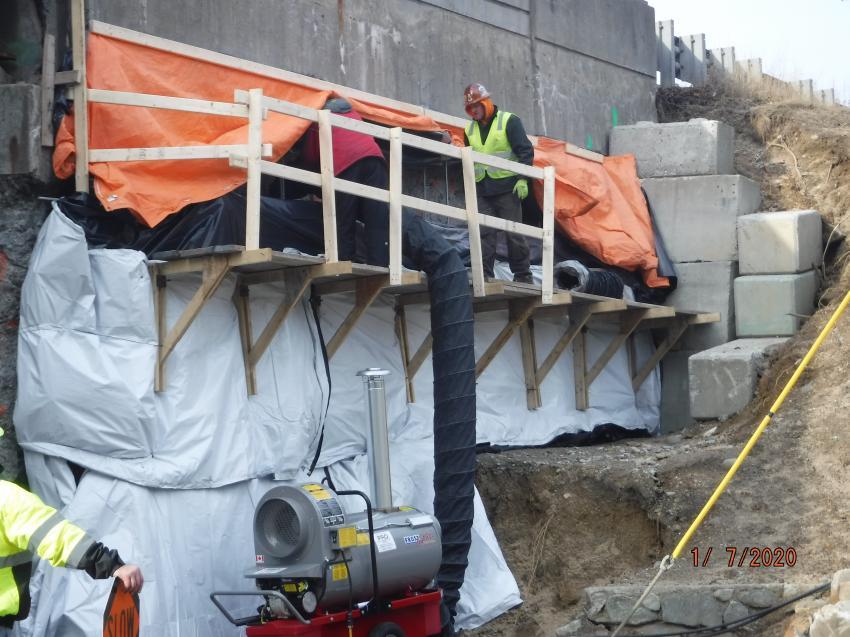 Retaining wall work on the Baker Pines Bridge in Richmond.