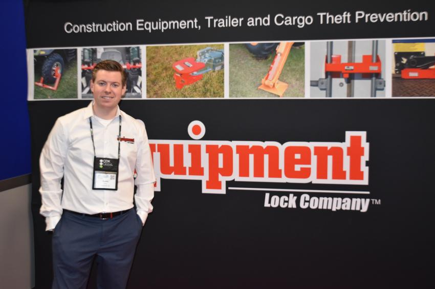 Dustin Izing, vice president of The Equipment Lock Company, displayed various locking devices for construction equipment owners.