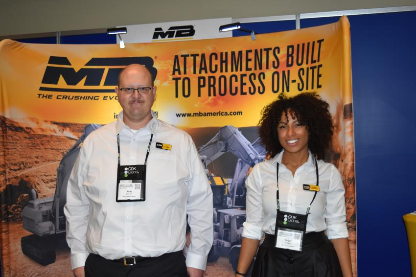 MB America Inc.'s Andy Batchelor (L), area manager, and Regan Whitfield, sales director, are the ones to call on if you are looking for an excavator-mounted crushing system.