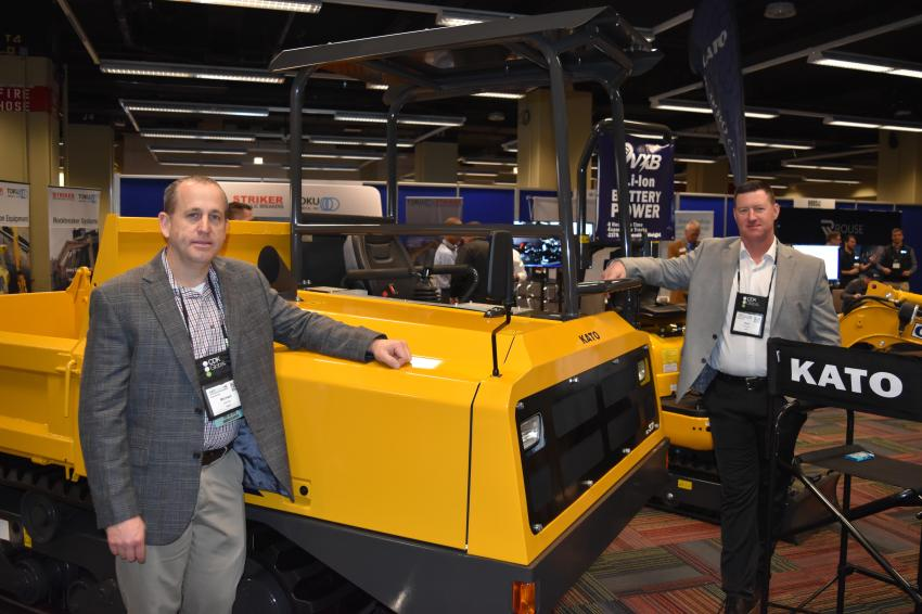 Micheal Aubrey (L), crawler carrier sales, and Bart DeHaven, national sales representative of KATO CES, brought the IC37 crawler carrier to the AED Summit.