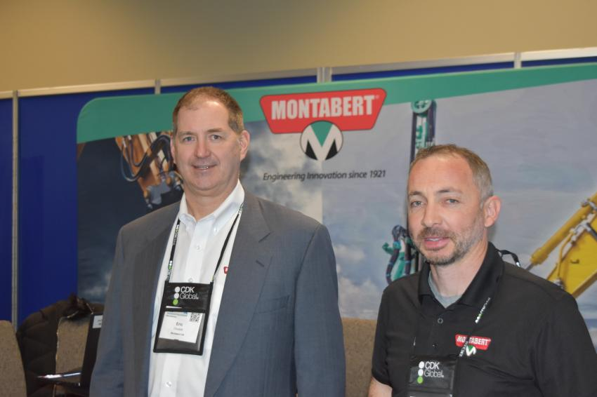 Eric Chudzik (L) and Paul Shevlin, both sales engineers of Montabert, a Canada-based attachment manufacturer that has a fast-growing network of dealers in the United States.