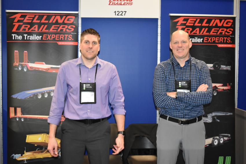 Nathan Uphus (L), sales manager, and Pat Jennissen, vice president of sales and marketing, of Felling Trailers, are at the AED Summit to talk about Felling's wide array of products.