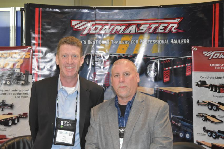 Arin Laugtug (L) and Russ Woelke, regional sales managers of Towmaster Trailers, have information on the trailer you're looking for.
