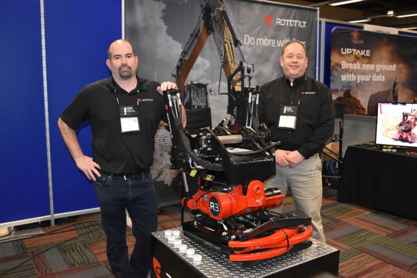 Shaun Davidson (L), product support manager, and Craig Alderton, regional manager of Rototilt brought the R3 tiltrotator, built for 6- to 12-ton excavators.