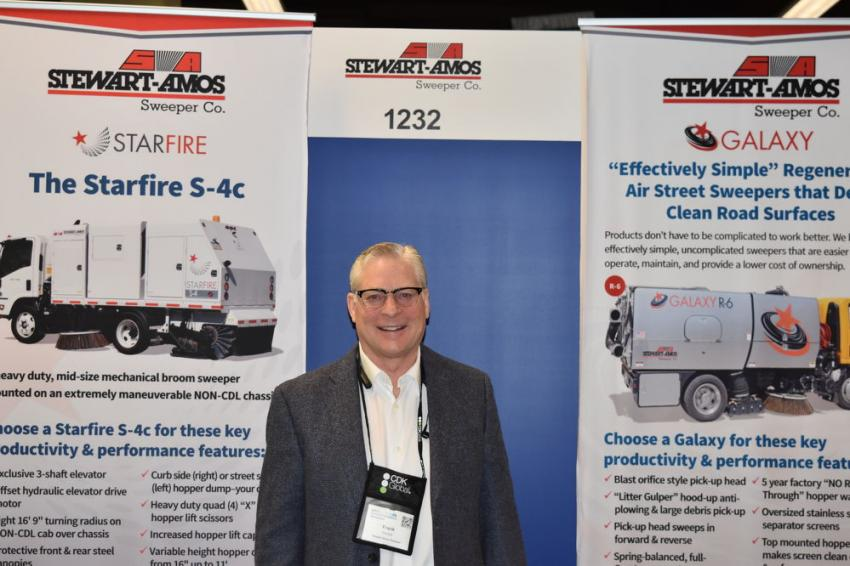 Frank Chulick, president of Stewart-Amos Equipment Co., has plenty of information on the company's Starfire and Galaxy sweepers.