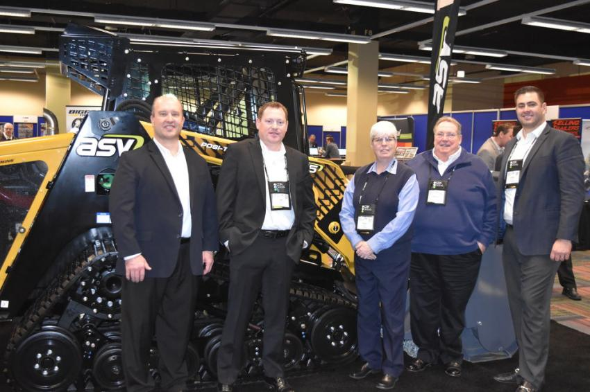 (L-R) are Justin Rupar, vice president of sales and marketing, ASV; Bill Stewart, district sales manager, ASV; Paula Benard, president of C.N. Wood Co. Inc.; Stephen Gatti, national sales manager, ASV; Gerry Carney, sales and market analyst of C.N. Wood Co. Inc. C.N. Wood is relatively new to the ASV family; however, they are finding tremendous success with their customers in New England.