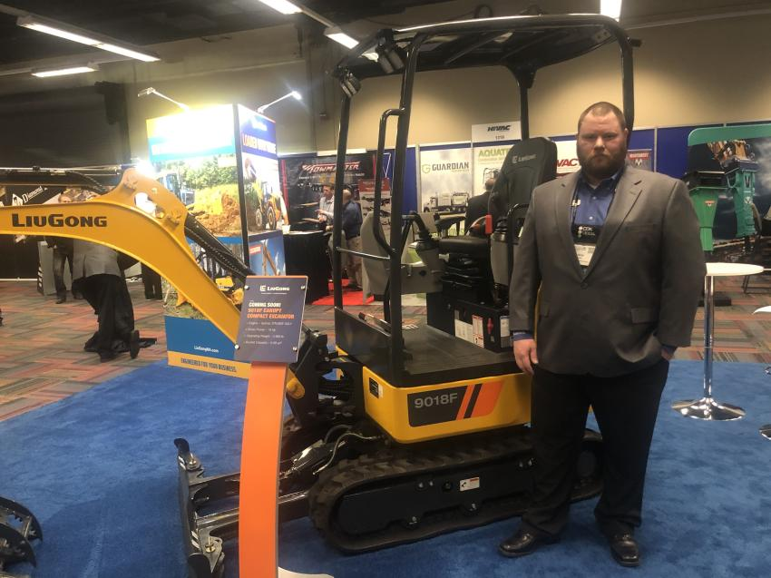 Andy Aska, regional product support manager of LiuGong North America, displayed a new LiuGong 9018F compact excavator.