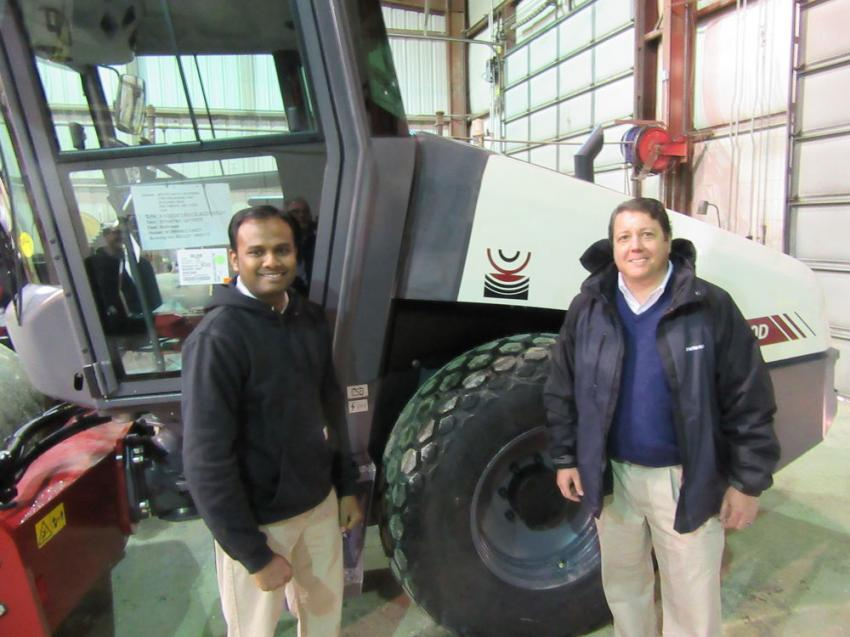 Dynapac's Vijay Palanisamy (L) and Rich Forrest, regional dealer sales manager, were on hand to introduce Dynapac's new Seismic soil compact technology.