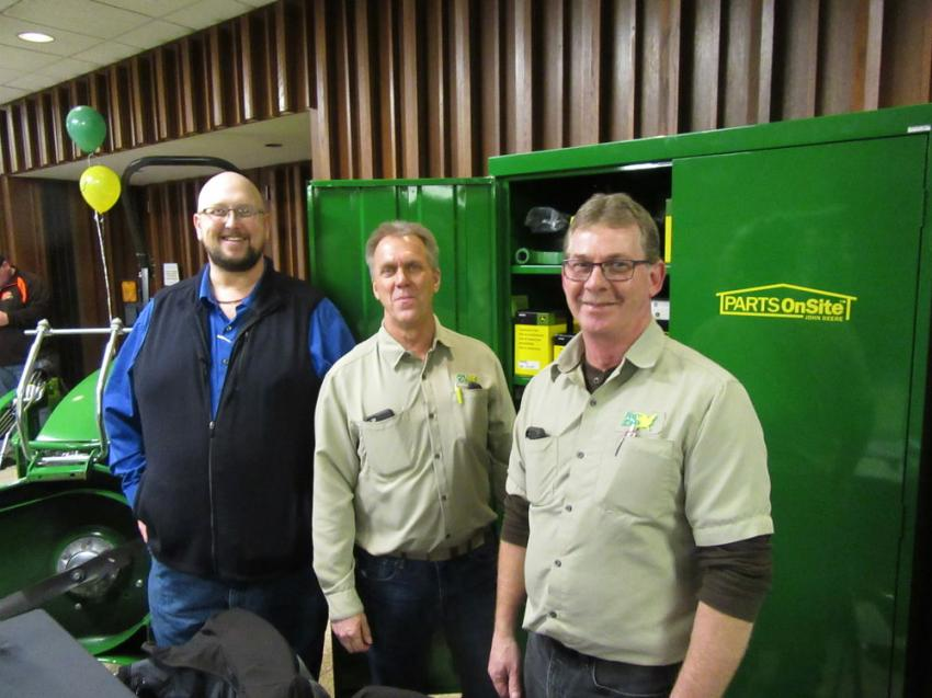 (L-R): Ag-Pro parts professionals, Bill Phillips, Barry Pohn and David Borders welcomed attendees to take advantage of show special parts discounts at the event.