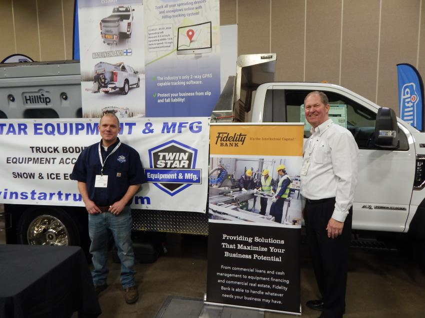 Present at Green Expo are Adam Jarvinen (L) of Twin Star Truck Equipment in Clearwater, Minn., and Mark Paetznick of Fidelity Bank, Edina Minn. For truck bodies you can lean on — dump bodies, flat beds, utility bodies, van bodies — and hook lift systems, Twin Star has the truck body you need to get the job done.