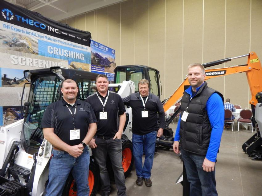 The crew of Theco Equipment, a Bobcat, Doosan and Powerscreen dealer with locations in Big Lake, Rogers and Brainerd, Minn., (L-R) are: newest member Patrick Schoen, senior regional sales manager; Brian Dodd, owner; Mark Jungclaus, sales, Bobcat of Brainerd; and Dan Olson, general manager.