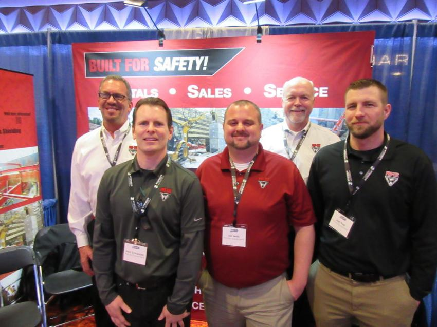 (L-R) are Dave Miedema, Fred Schuessler, Jon Lentz, Paul Rosemeck and Joch Post of Pro-Tec Equipment, who spoke with attendees about the company's line of trench shoring products.