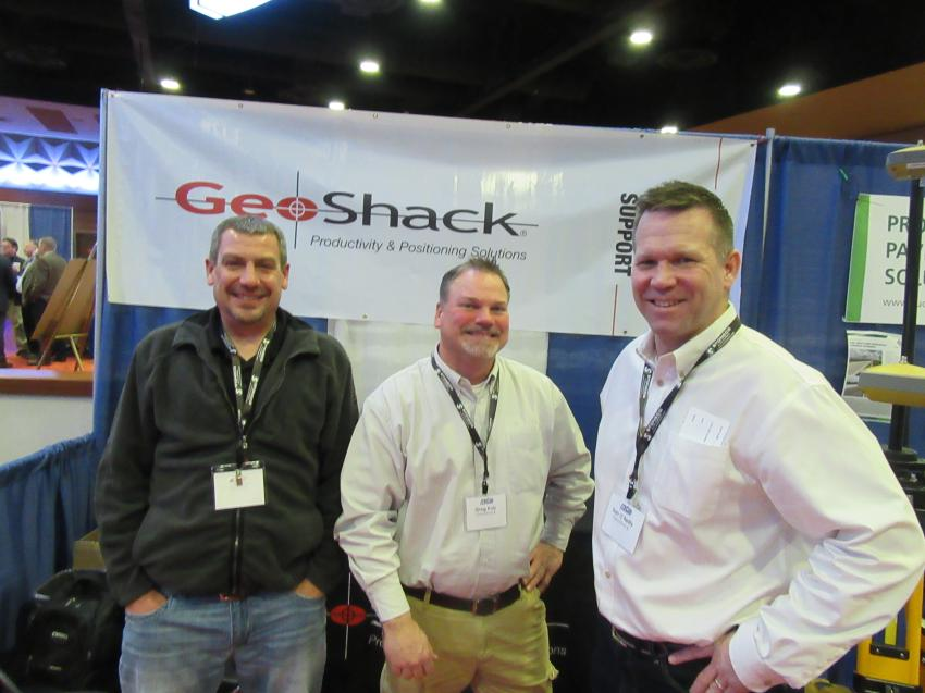 (L-R): Tyler Parker, Greg Koly and Dan O'Reilly of GeoShack were on hand to discuss Topcon's lineup of productivity and positioning solutions at the show.
