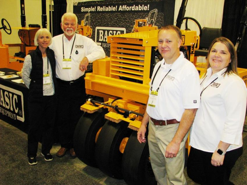 (L-R): Ramona Phelps, Rodger Phelps, Shannon Chastain and Philicia Chastain of Basic Equipment, Eatonton, Ga., were at the show promoting their line of asphalt compaction machines.