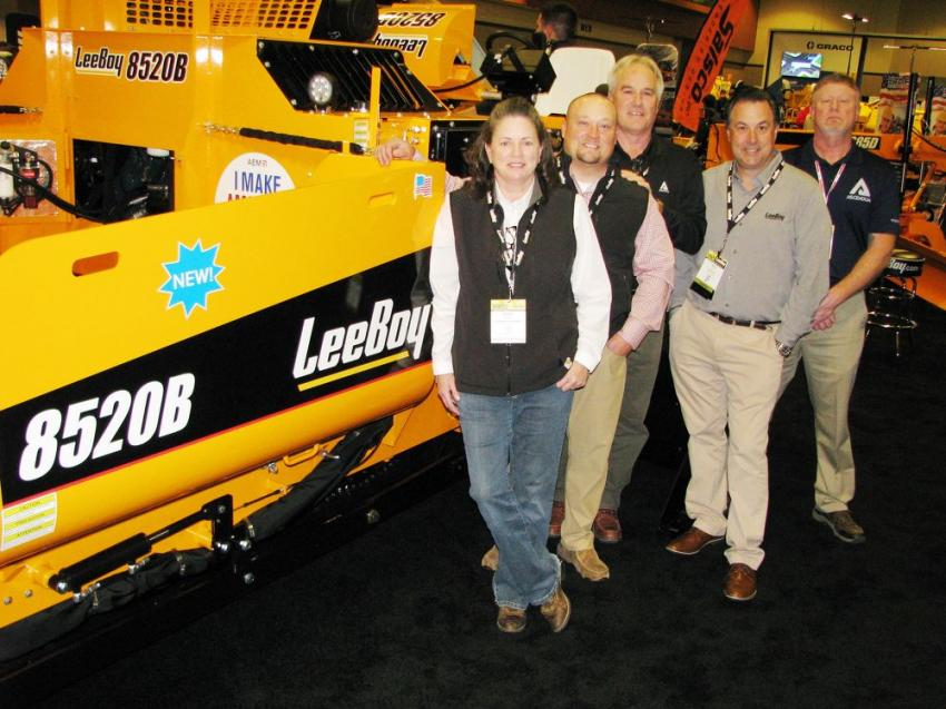 Lots of excitement in the LeeBoy exhibit with the introduction of the newly redesigned LeeBoy 8520B paver. Dealer reps from Ascendum in Charlotte, N.C., stopped by the exhibit to take a look at this machine (L-R) including Kristin Parker, Scott Lee, Steve Brown, Brian Hall of LeeBoy and Steve Keller.