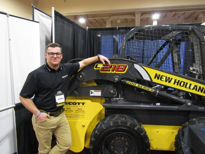 After 30 years in the rental business, New Holland skid steers are still one of the most requested pieces of equipment in Scott Equipment's rental fleet, known for their rock-steady stability. Kevin Scott of Scott Equipment demonstrate a New Holland L218 skid steer loader at the CRA Show.