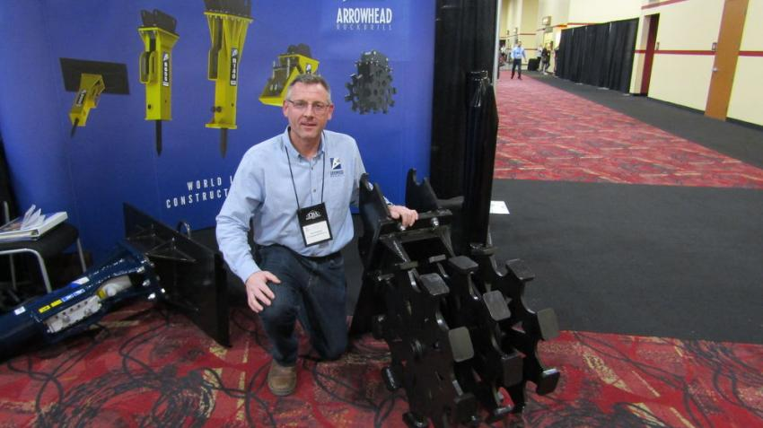 Rob Sherwin of Arrowhead Rockdrill Co. showcases its line of hammers, compaction wheels, plate compactors and demolition grab.
