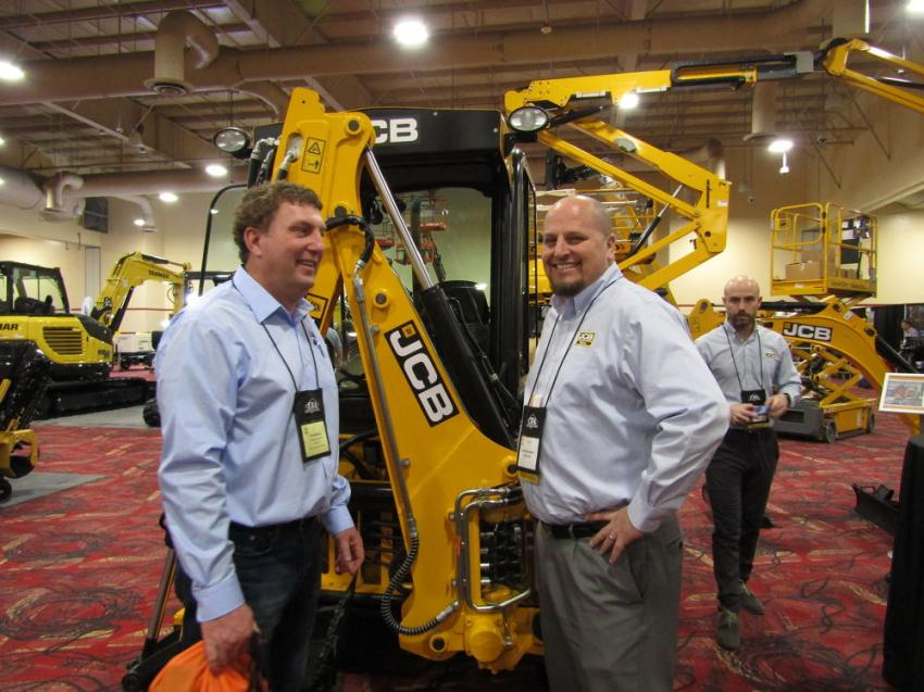 SoCal JCB, having recently opened its new state-of-the-art facility in late 2019, exhibited in this year's show with the JCB 1CXT compact tracked backhoe. Pictured here, Tony Murray of American Rentals and Bryan Bernardino of SoCal JCB discuss the functionality and performance of the JCB 1CXT. The JCB 1CXT's popularity stems from its versatility in offering skid-steer and mini-excavator performance in one package.