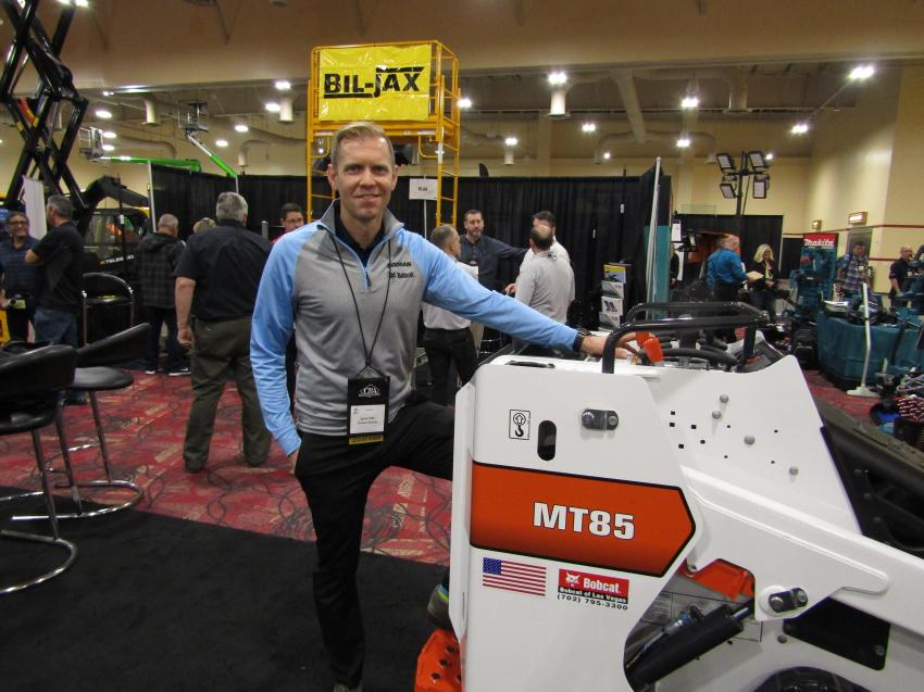 Jason Pike of Doosan Bobcat displays the Bobcat MT85 mini-track loader, available with more than 30 attachments for maximum utilization for the rental industry.