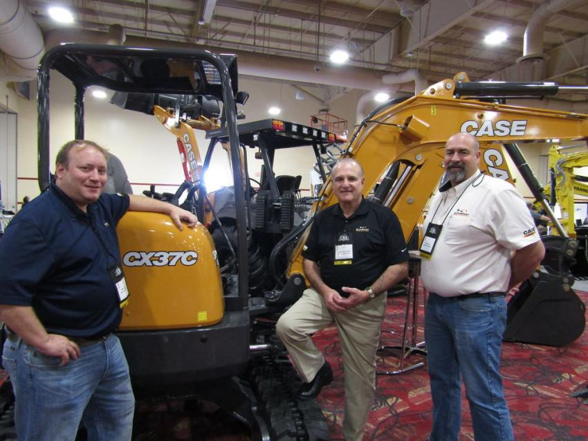 Demonstrating their most popular mini-excavator, the Case CX37C mini-excavator, (L-R) are: Mark Thomas, Gregg Raslowsky and Mark Hayes of Sonsray Machinery. Sonsray Machinery is considered to be the largest Case distributor on the West Coast with 13 locations.