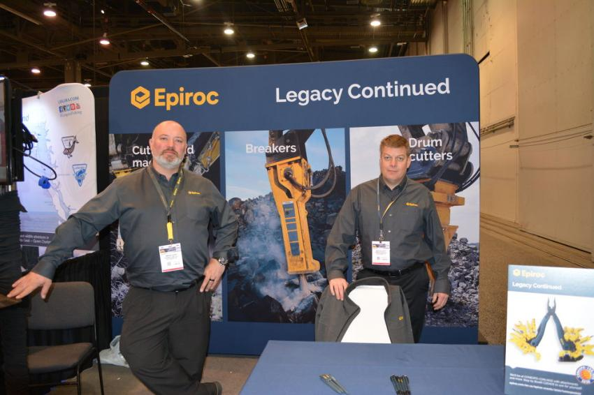 Brian Henk (L) and Rich Elliott of Epiroc were on hand to talk about attachments with show attendees. Epiroc manufacturers a complete line of attachments for construction, mining and demolition, including breakers and drum cutters.