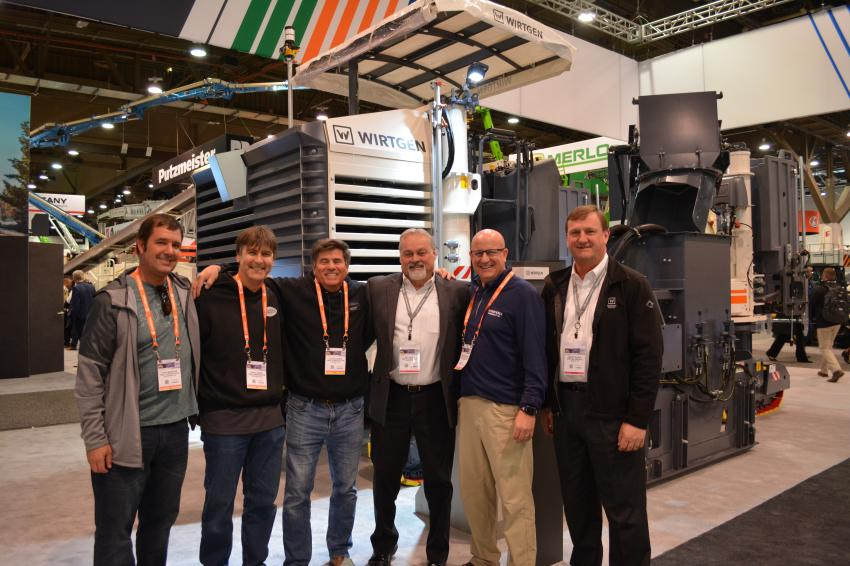 The Wirtgen Group's huge exhibit in Central Hall drew big crowds. Here, (L-R) ABSL Construction's Todd Wheeler, Daryl Vorne and Luis Allende are joined by Marty Burks of Wirtgen, Vern Gunderson of Nixon-Egli Equipment and Wirtgen's Jeff Wiley. ABSL is an asphalt milling and diamond grinding contractor in Calif. Nixon-Egli is the Wirtgen dealer for Calif.