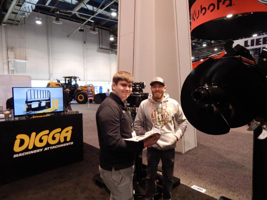Digga North America announces its partnership with Kanga Loaders at World of Concrete. Cody Udelhofen (L), product specialist of Digga, shows Derik Weckerly of All in One Products in Watford City, N.D., the Bigfoot XD trenchers for excavators, skid-steer loaders and backhoes.