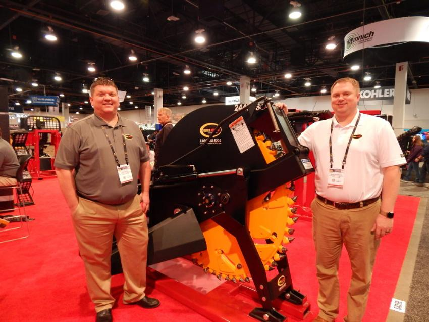 Nick Otto (L) and David Thompson, Quick Attach, Alexandria Minn., with the show-stopping rock concrete saw.