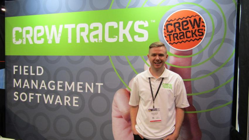 Casey Black of Crewtracks, based in Layton, Utah, showcases realtime management and reporting software to help manage and track job-site activities.
