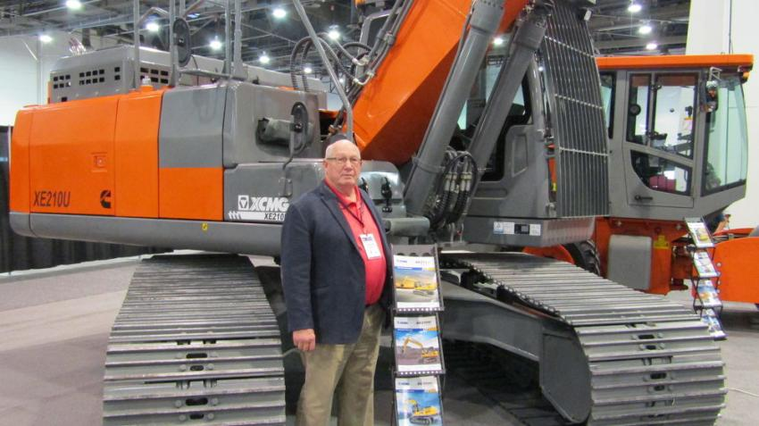 The XCMG XE210U crawler excavator featuring intelligent control technology and powered by a 4T Cummins is presented by Dennis Smith of Las Vegas.