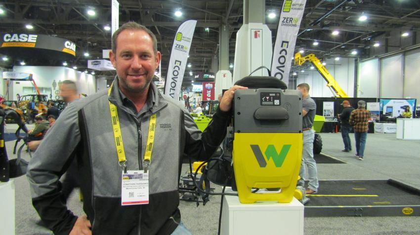 Wacker Neuson Corp. introduces the all new Wacker Neuson backpack concrete vibrator, shown here by Jonathan Fairbanks of Menomonee Falls, Wis.