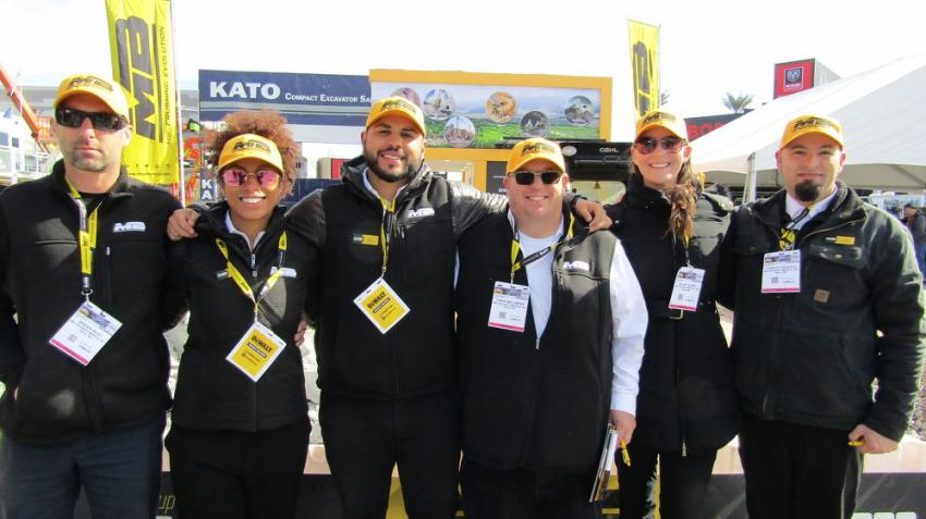 The MB Crusher team from Reno, Nev. representing its line of crushing and screening buckets:  (L-R): Braden Riley, Regan Whitfield, Alex Jovel, Chris Ballengee, Jillian Talbot and Joshua Fanjeaud.