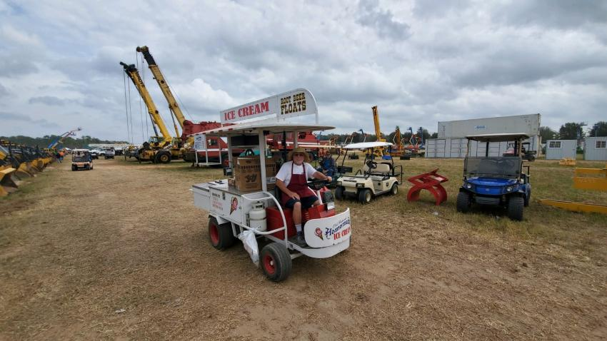 """Annual Florida Auction attendee, Barry """"the Ice Cream Man,"""" keeps everyone cool on a hot day in Kissimmee, Fla."""