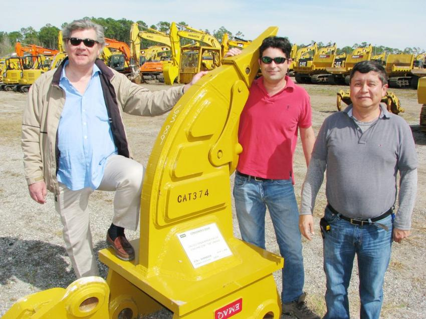 With more than 500 Teran Industries attachments in this sale, (L-R) Carlos Teran, Fred Sanchez and Miguel Escoto were out to make sure their products were staged and ready for auctioning.