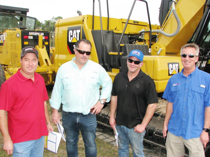 A meeting of the minds of guys ready to buy and sell (L-R) include Wayne Jordan, Bottom Line Equipment, Houston, Texas; Larry Spellman, Truck & Iron Traders, Boston, Mass.; Rick Gentes, Gentes Excavating, North Smithfield, R.I.; and Curtis Zeringue, Bottom Line Equipment, Lafayette, La.