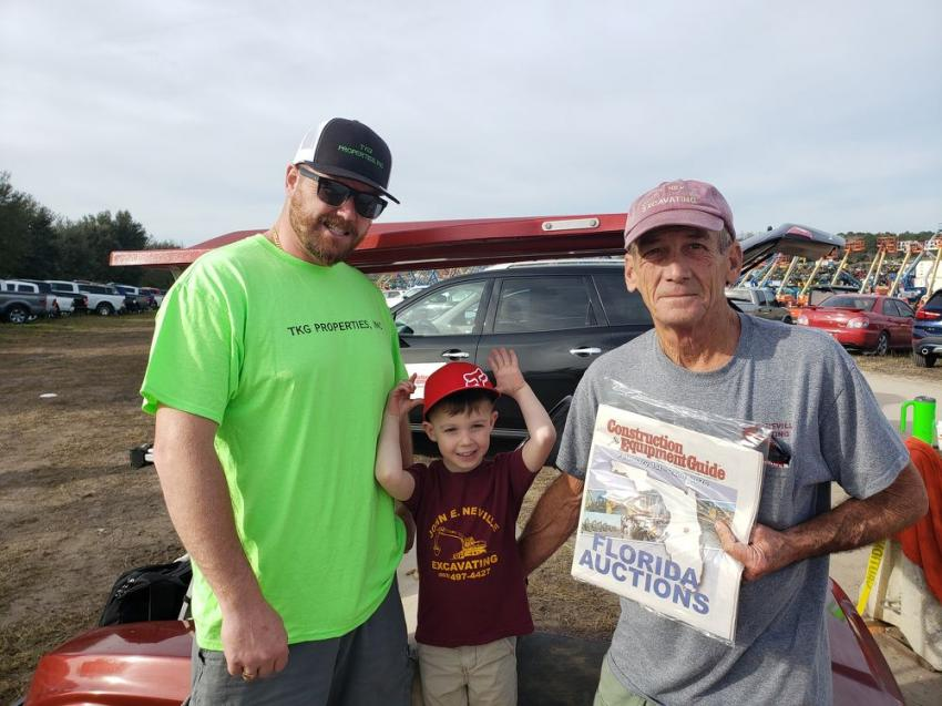 (L-R): Triston Gordon of TKG Properties Inc., Weare, N.H., brought his son, Kirk, to the Alex Lyon & Son sale in Florida, where they met up with Kirk's grandfather, John Neville, owner of John E. Neville Excavating Inc., Goffstown, N.H.