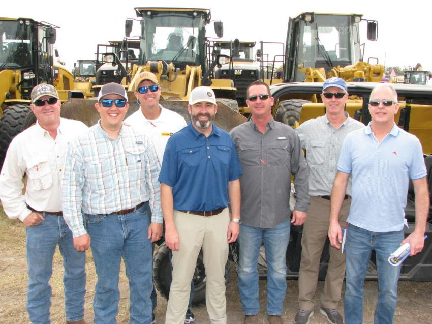 Representatives of the local Cat dealer, Ring Power, were out in full force monitoring the pricing of the Caterpillar machines including (L-R) Mike Reynolds, Ben Ballowe, Paul Twigg, Frank Streva, Scott Flowers, Dennis Ryan and John Stancil.