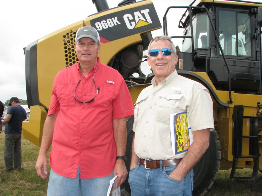 Cat dealers down from the Carolinas to see what deals could be had at the Alex Lyon sale are John Hood (L) of Carolina Cat, Charlotte, N.C. and Harry Hurley of Blanchard Machinery, Columbia, S.C.
