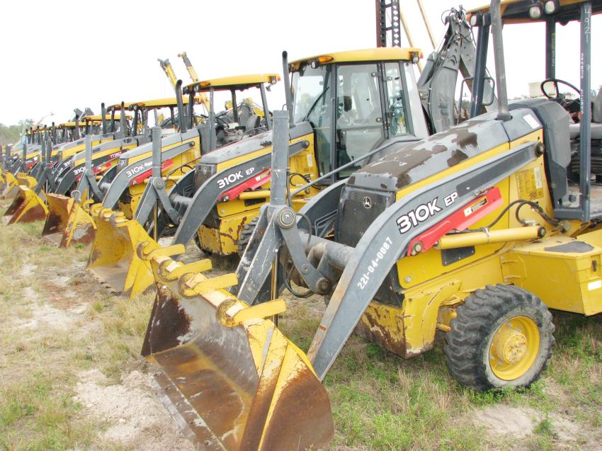 The line-up of John Deere 310K backhoe loaders went virtually as far as the eye could see.