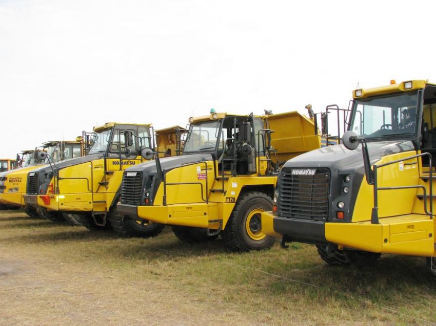 A nice selection of Komatsu articulated trucks were lined up and waiting for new homes.