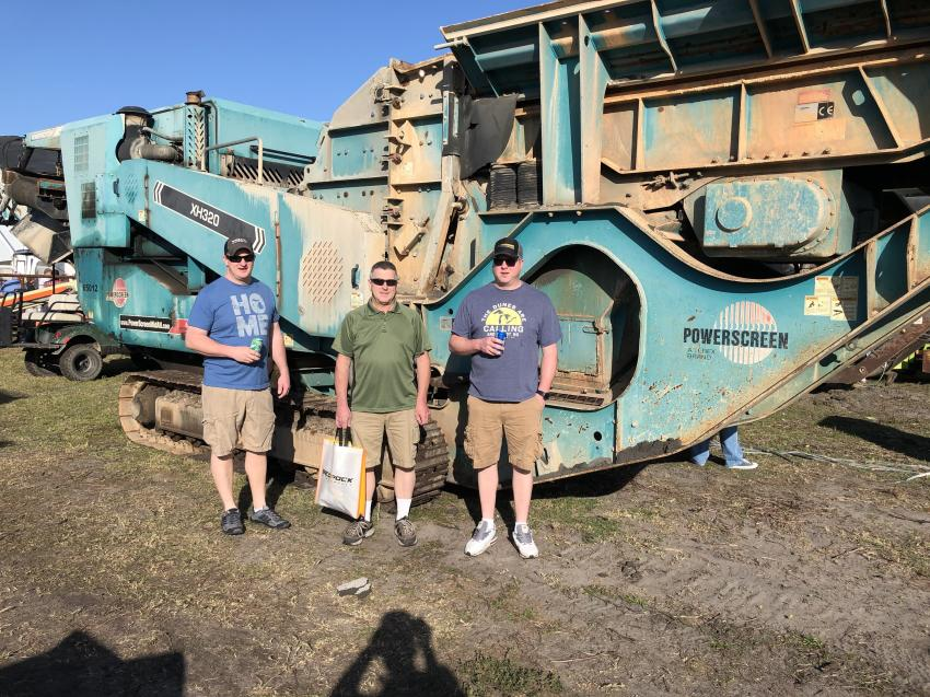 (L-R): Chris, Alan and Jordan Leman of All Aggregates in Traverse City, Mich., were interested in this Powerscreen XH320 mid-sized horizontal impact crusher.