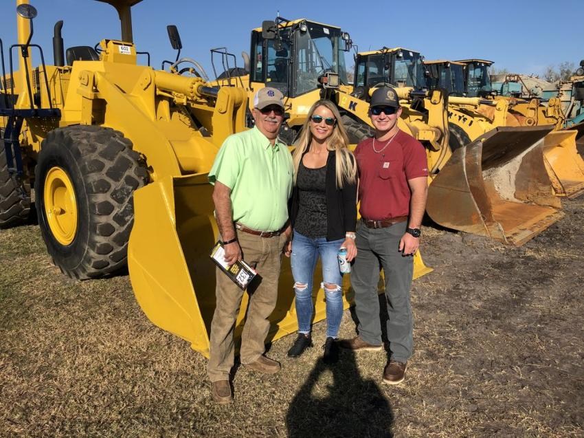 (L-R): Don and Renee Bullard with Stuart Williams, all of Ballard Excavating in Andalusia, Ala.  Don has been coming to the Kissimmee auctions for 45 years and always buys a machine or two.