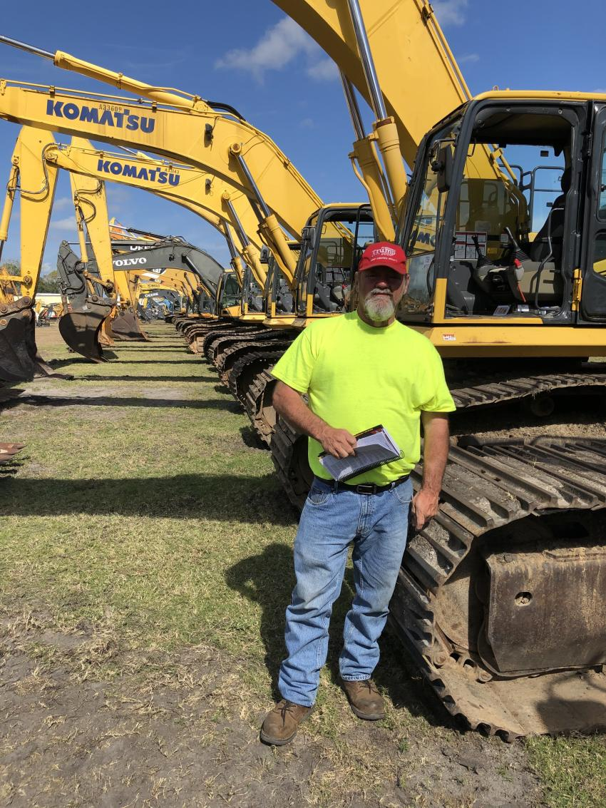 Steve Jordan of Steve Stone Land Clearing in Andrews, S.C., checked out the Komatsu excavators.