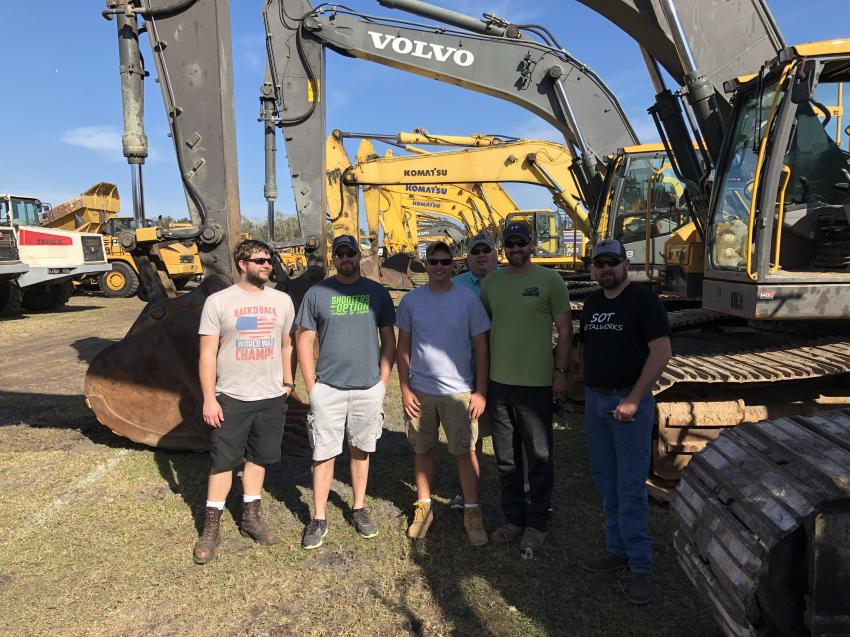 The Jeff Martin Auctioneers Kissimmee auction was the perfect meeting place for a group from popular YouTube channels focused on construction and related equipment, including (L-R) Let's Dig 18, Elite Earth Works LLC, Jasonworksalot, Dirt Perfect and SOT Metalworks.